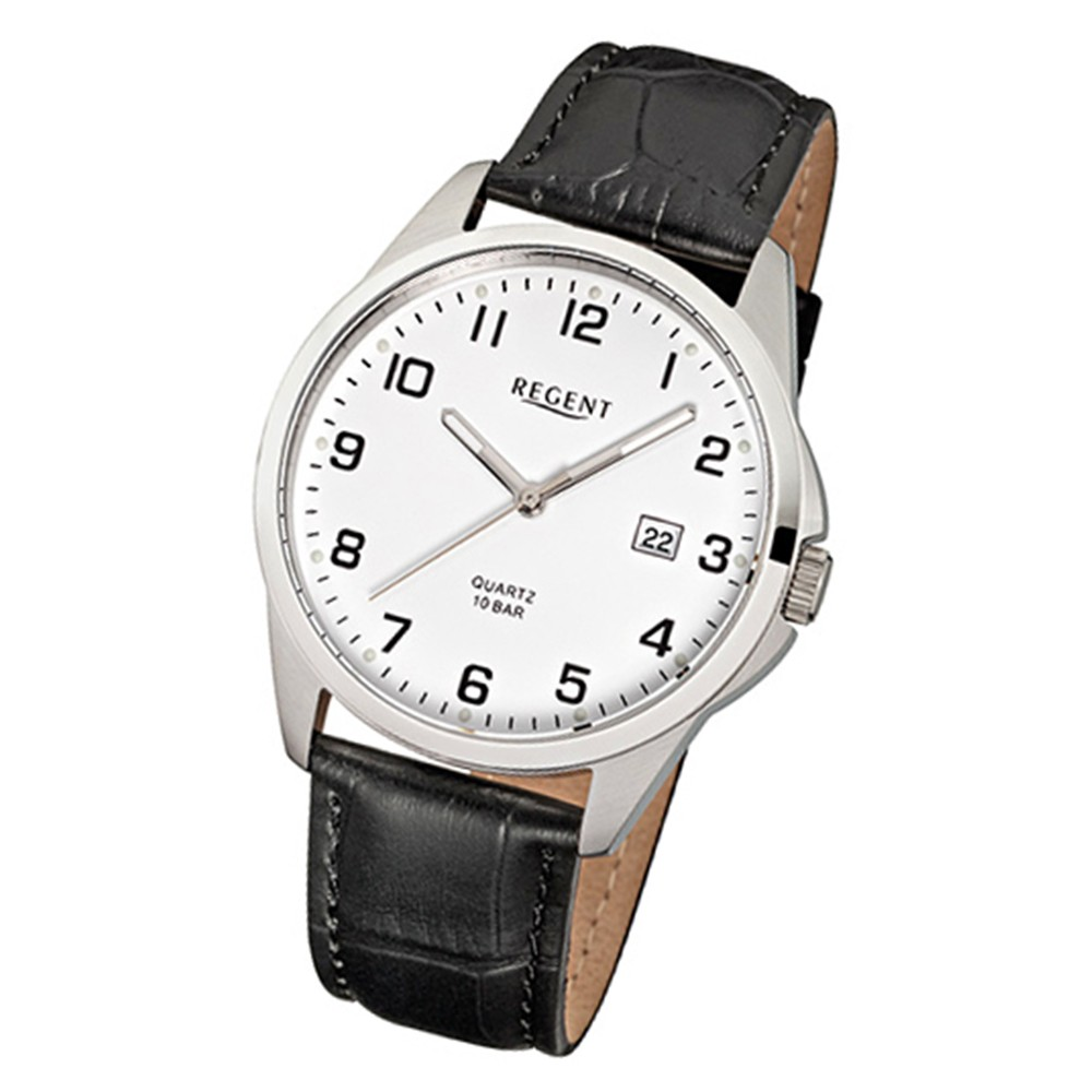 Regent Herren-Armbanduhr Mineralglas Quarz Leder schwarz URF913