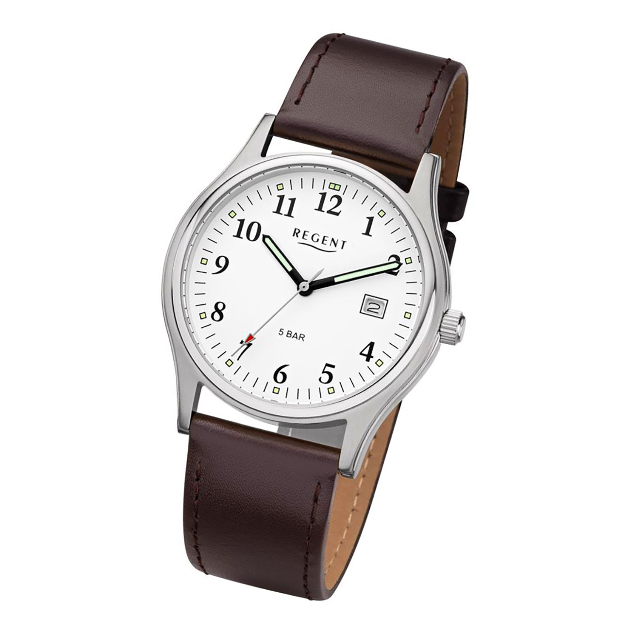 Regent Herren-Armbanduhr Mineralglas Quarz Leder braun URF955