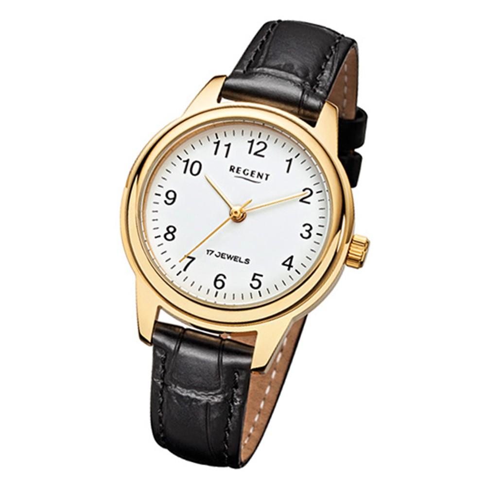 Regent Damenuhr Handaufzug Leder schwarz Gehäuse ionenplattiert Gold Uhr URF959