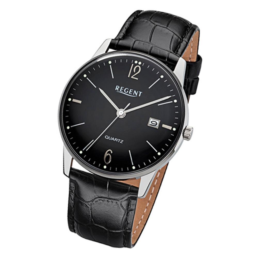 Regent Herren-Armbanduhr 32-F-985 Quarz-Uhr Leder schwarz Uhr URF985