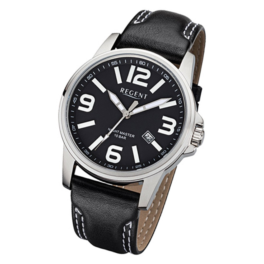 Regent Herren-Armbanduhr 32-F-995 Quarz-Uhr Leder-Armband schwarz URF995