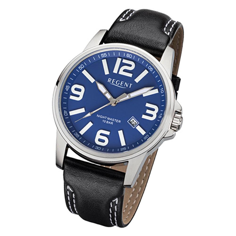 Regent Herren-Armbanduhr 32-F-996 Quarz-Uhr Leder-Armband schwarz URF996