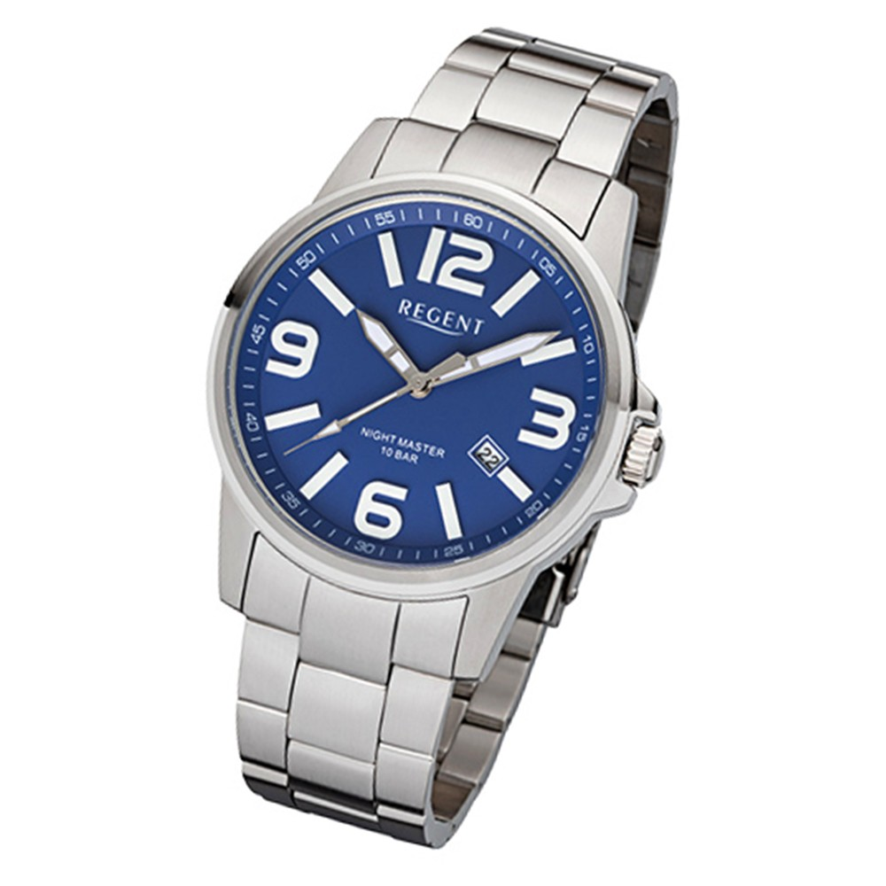 Regent Herren-Armbanduhr 32-F-998 Quarz-Uhr Edelstahl-Armband silber URF998