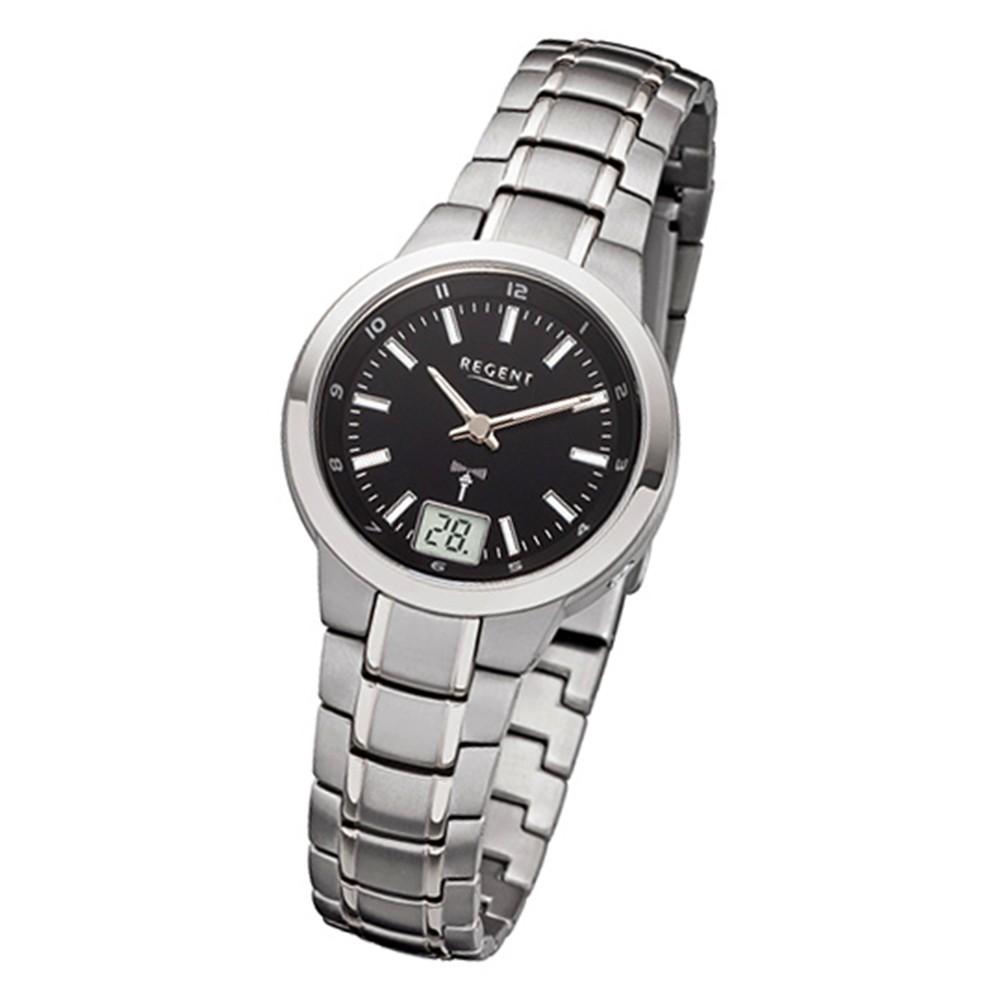 Regent Damen-Armbanduhr 32-FR-190 Funkuhr Edelstahl-Armband silber URFR190