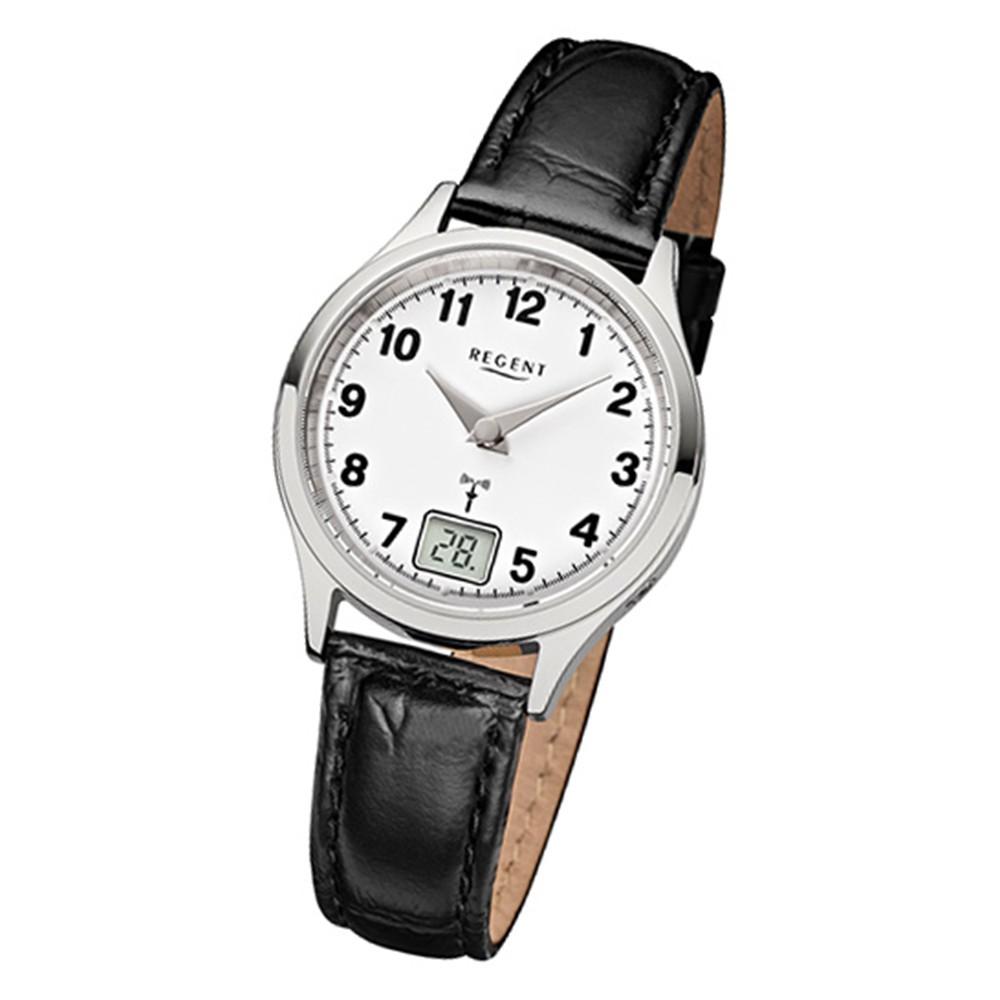 Regent Damen-Armbanduhr 32-FR-192 Funkuhr Leder-Armband schwarz URFR192