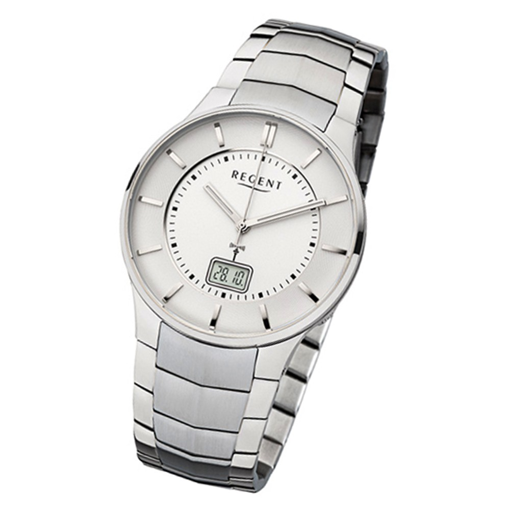Regent Herren-Armbanduhr 32-FR-212 Funkuhr Edelstahl-Armband silber URFR212