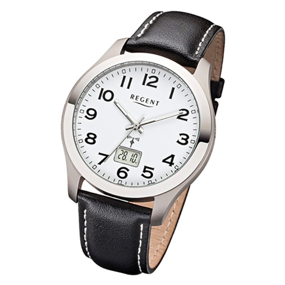 Regent Herren-Armbanduhr 32-FR-220 Funkuhr Leder-Armband schwarz URFR220