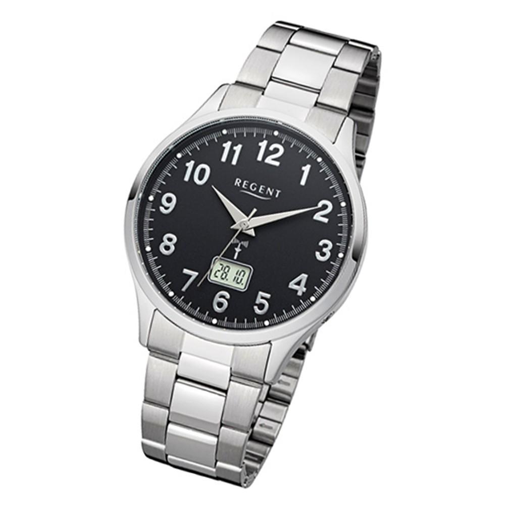 Regent Herren-Armbanduhr 32-FR-231 Funkuhr Edelstahl-Armband silber URFR231