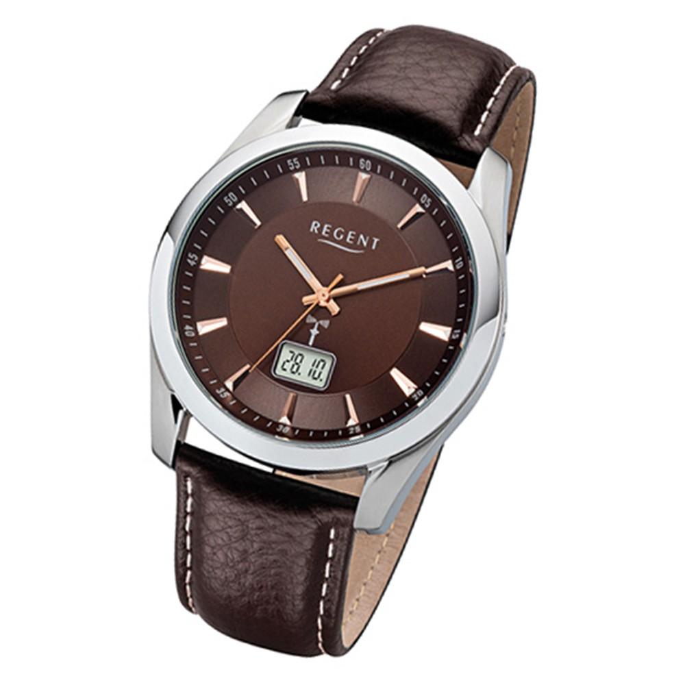 Regent Herren-Armbanduhr 32-FR-232 Funkuhr Leder-Armband braun URFR232