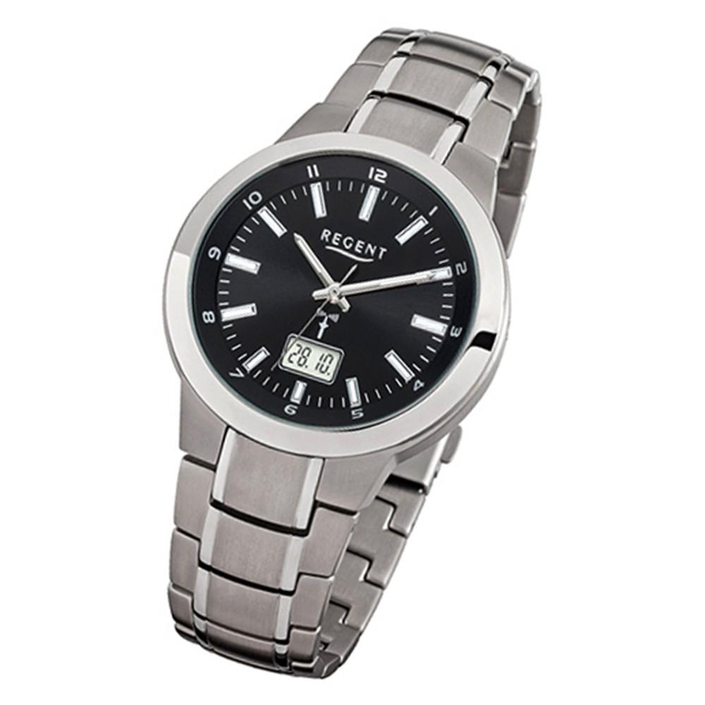 Regent Herren-Armbanduhr 32-FR-238 Funkuhr Edelstahl-Armband silber URFR238