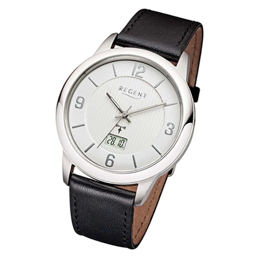Regent Herren-Armbanduhr 32-FR-242 Funkuhr Leder-Armband schwarz URFR242