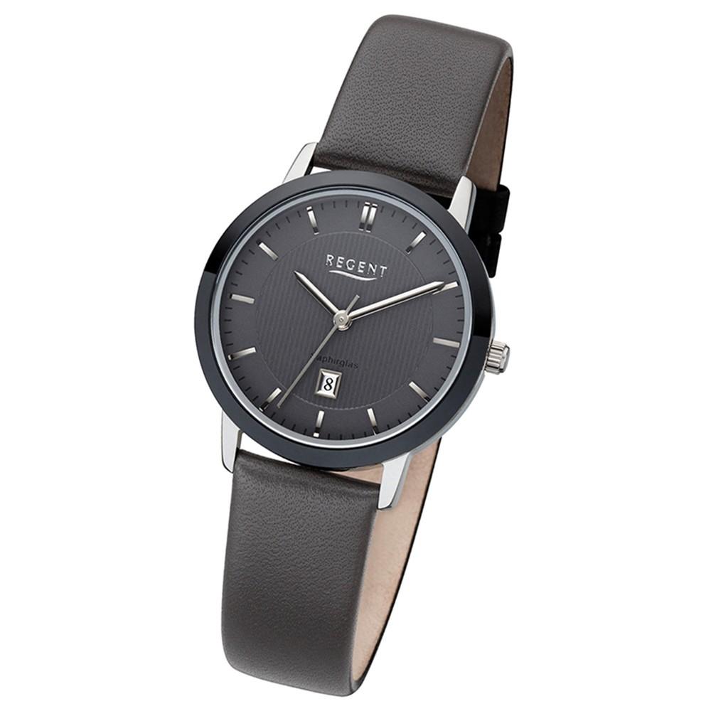 Regent Damen-Armbanduhr Quarzwerk Lederarmband dunkelgrau, schwarz URLD1614