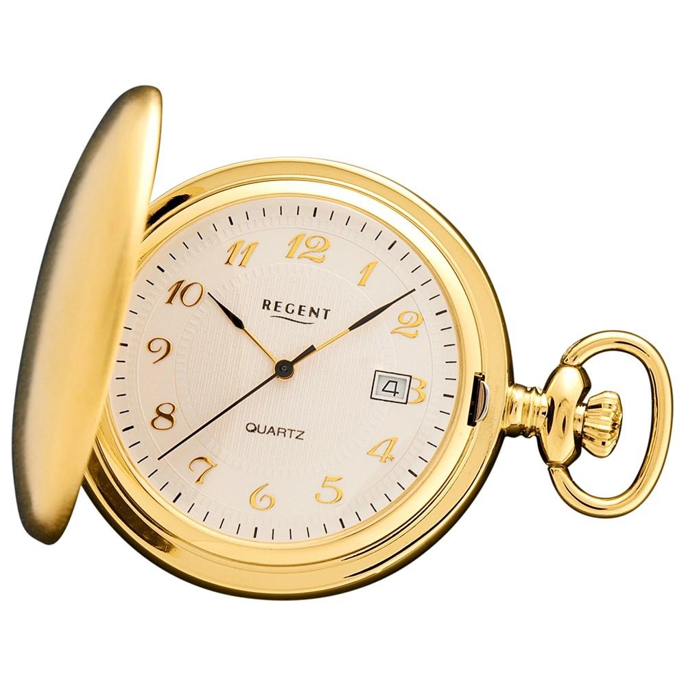 Regent Damen, Herren Taschenuhren Quarzwerk vergoldet URP015