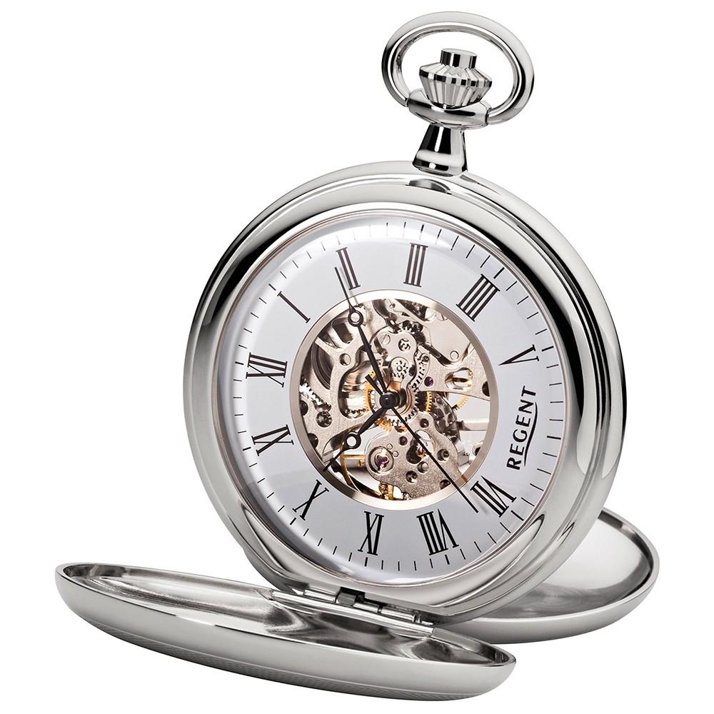 Regent Unisex Taschenuhren skelettiertes mechanisches Uhrwerk Handaufzug URP093