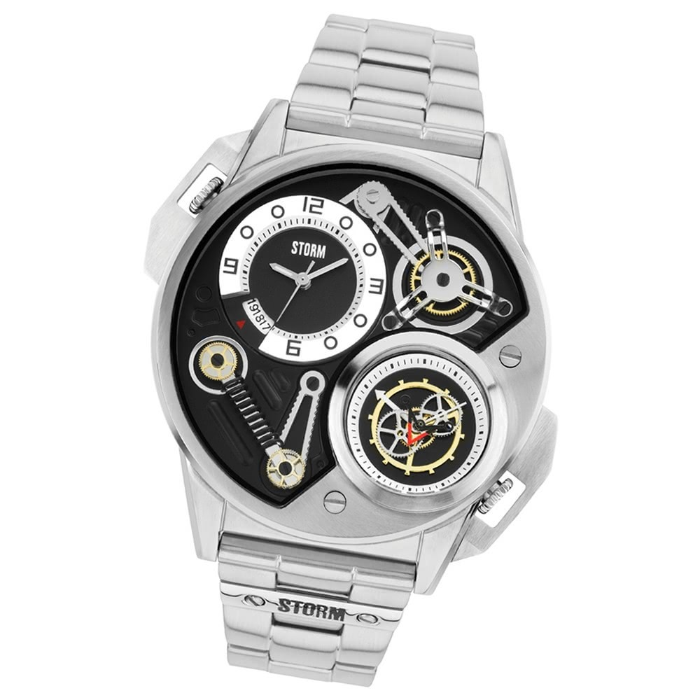 STORM Herrenuhr schwarz Edelstahl Armband Uhr DUALTRON BLACK UST47229/BK