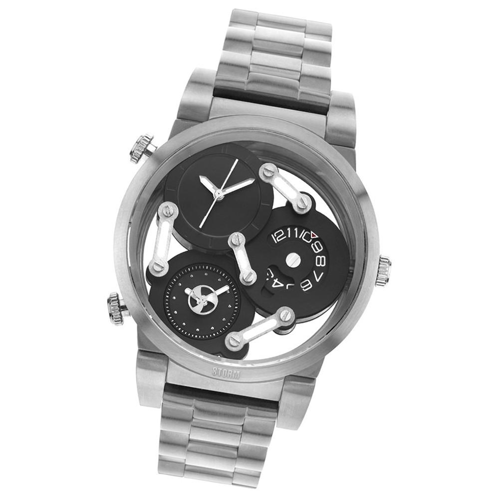STORM Herrenuhr schwarz Edelstahl Armband Uhr TRI-MEZ BLACK UST47236/BK