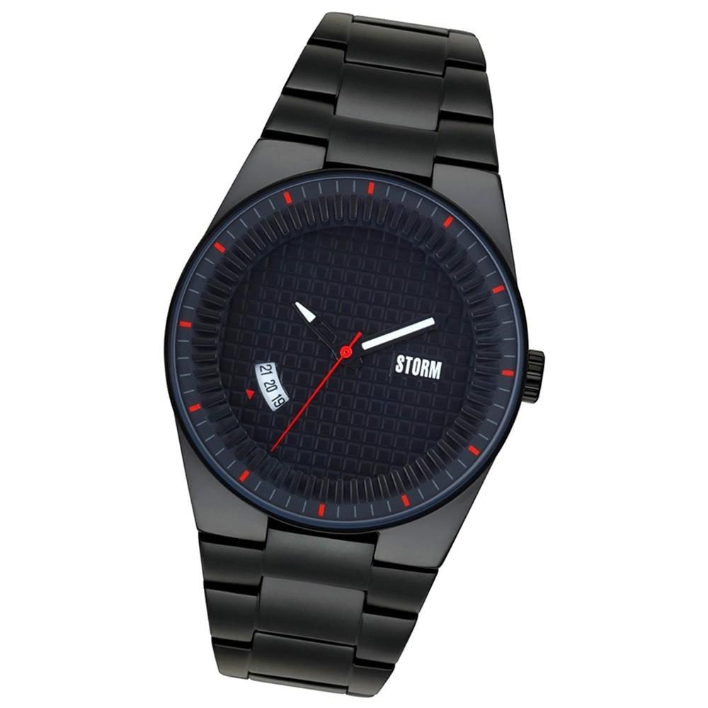 Storm Herren-Uhr Mineralglas Quarzuhr Edelstahl-Armband schwarz UST47321/BK