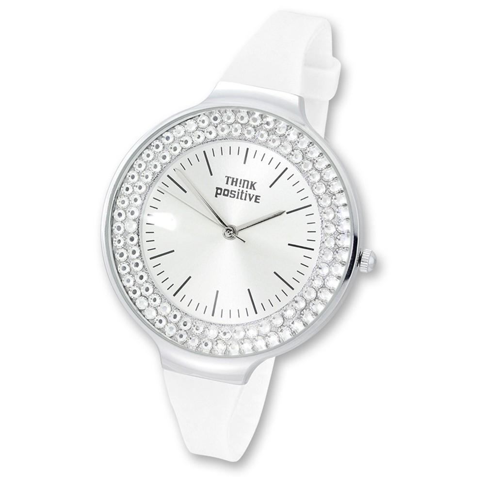 THINK positive Damen Armbanduhr Crystal Analog Quarz Silikon weiß UTP1003W