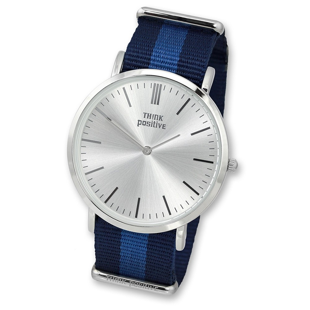 THINK positive Damen Herren Armbanduhr Casual Analog Quarz Nylon blau UTP3055B