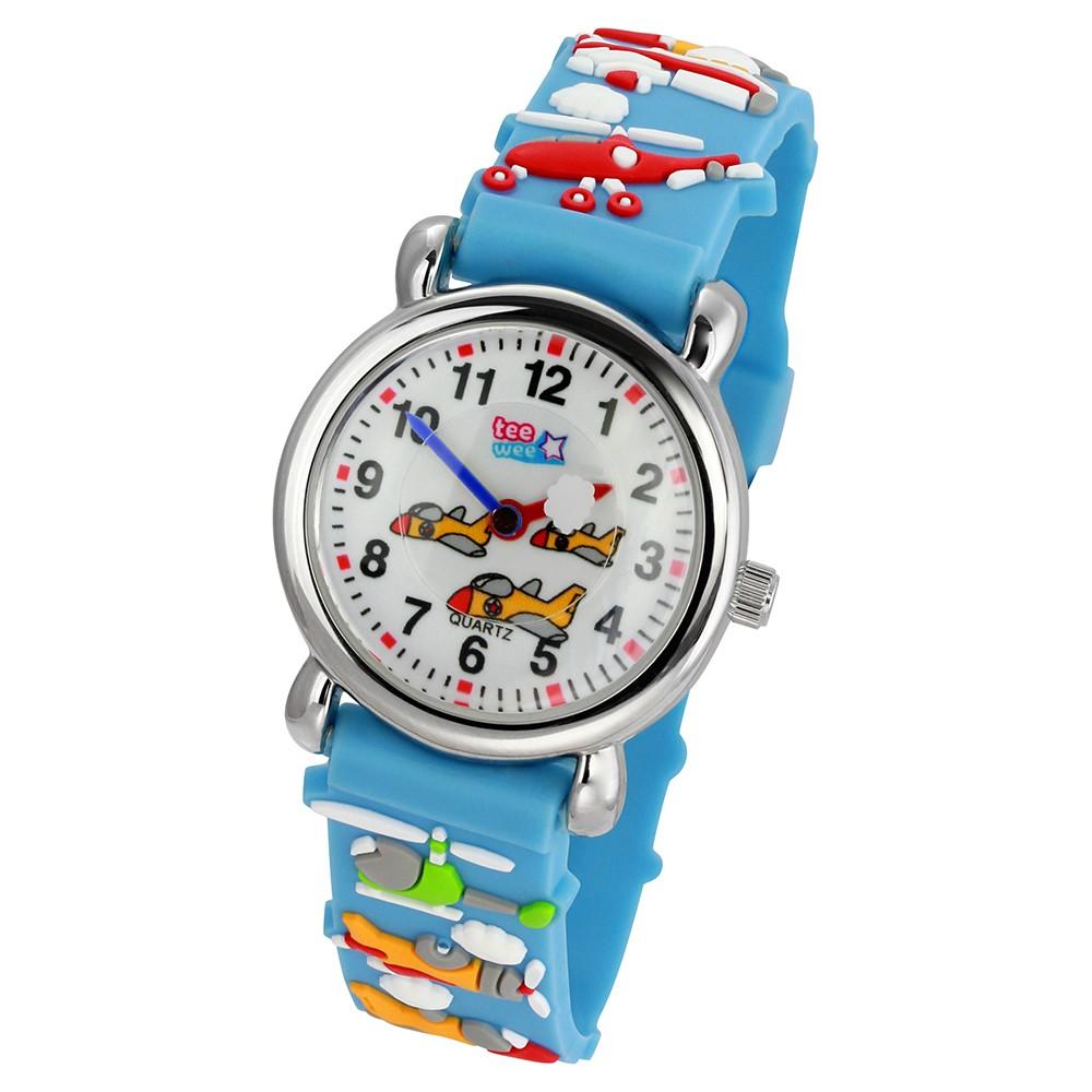 Tee-Wee Kinderuhr türkis Flugzeuge 3D Kautschukband Kinder Uhren UW348T