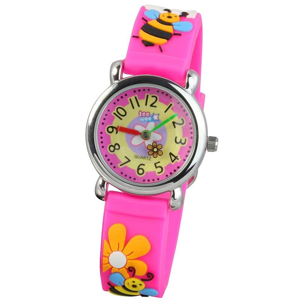 Tee-Wee Kinderuhr pink Bienchen 3D Kautschukband Kinder Uhren UW385P