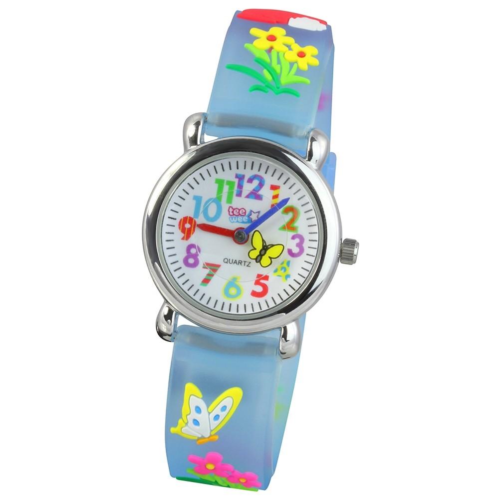 Tee-Wee Kinderuhr türkis Wiese 3D Kautschukband Kinder Uhren UW434T