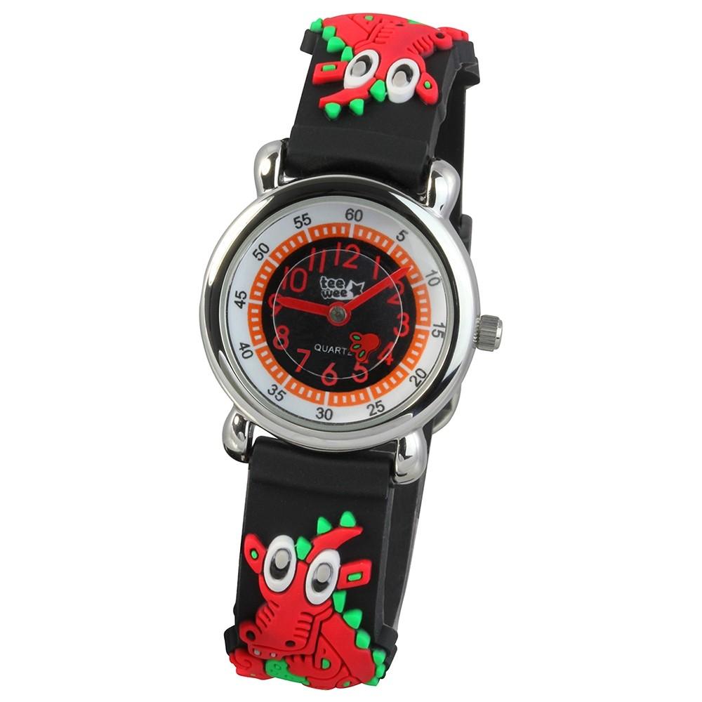 Tee-Wee Kinderuhr schwarz Drache 3D Kautschukband Kinder Uhren UW608S