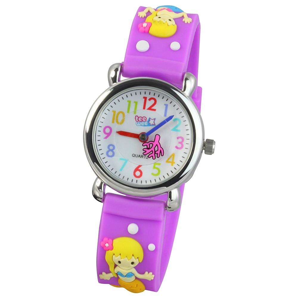 Tee-Wee Kinderuhr lila Meerjungfrau 3D Kautschukband Kinder Uhren UW647V
