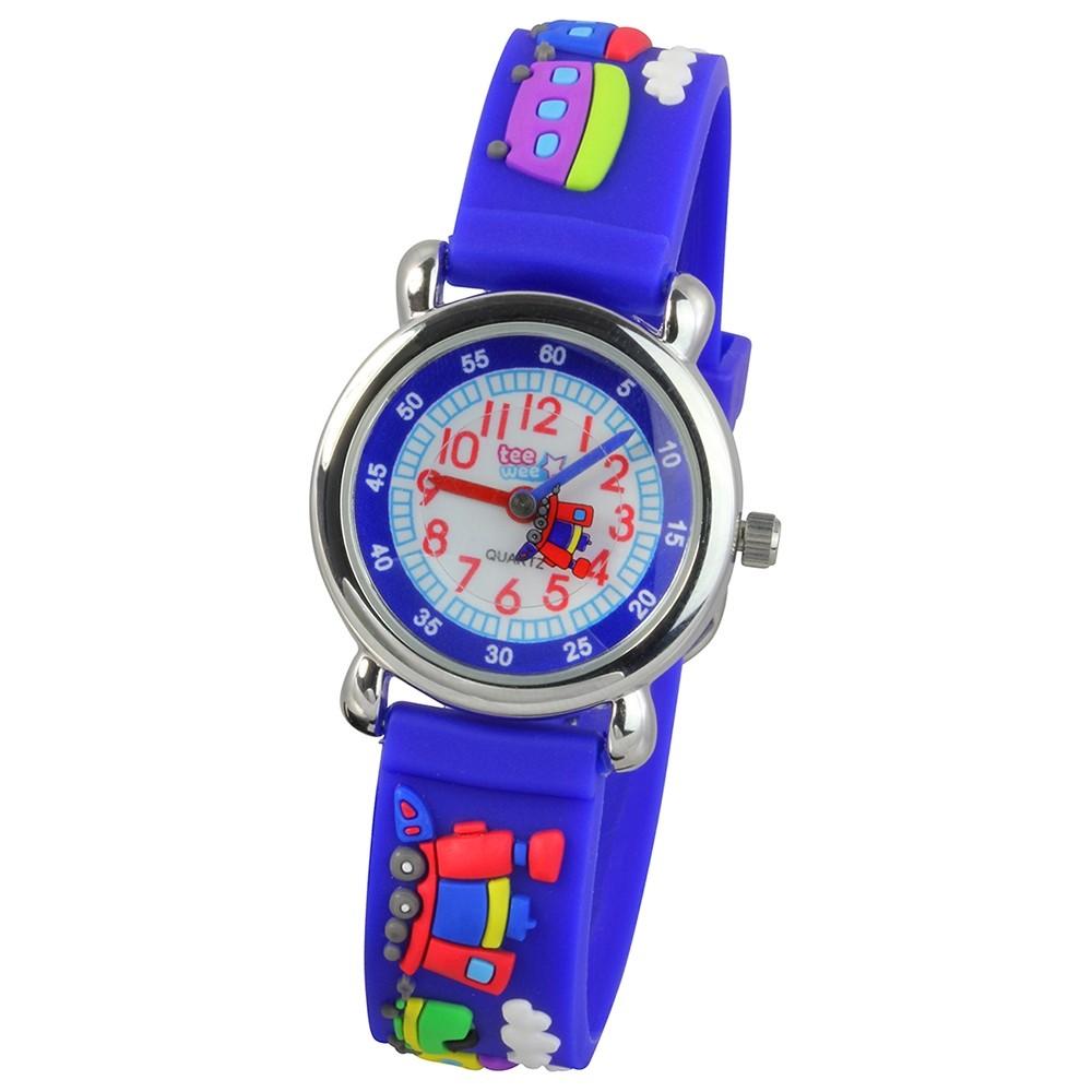 Tee-Wee Kinderuhr blau Eisenbahn 3D Kautschukband Kinder Uhren UW659B