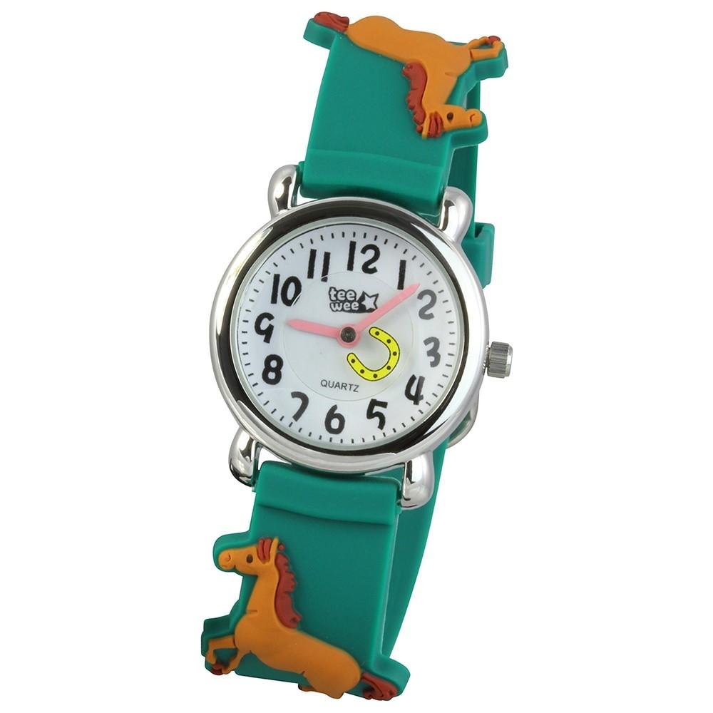 Tee-Wee Kinderuhr grün Pferde 3D Kautschukband Kinder Uhren UW767G