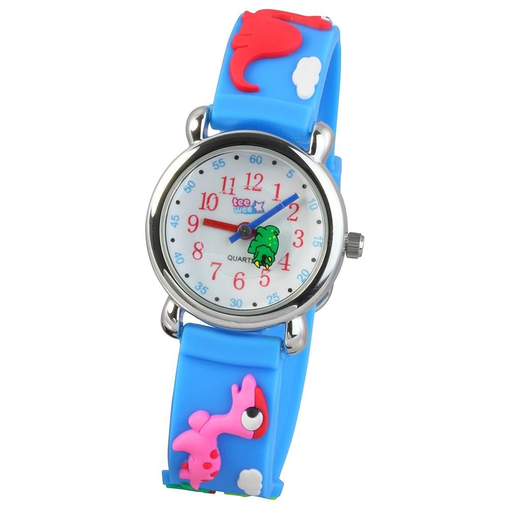 Tee-Wee Kinderuhr hellblau Dinos 3D Kautschukband Kinder Uhren UW941H