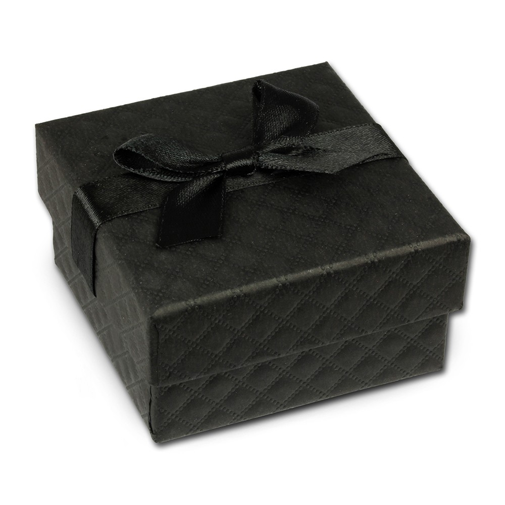SD Geschenkverpackung schwarz 65x65x35mm Schmuckschachtel mit Schleife VE3163S