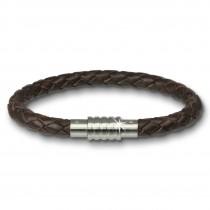 Amello Megabeads Leder Armband brau mit Edelstahl Verschluß AMA474N20