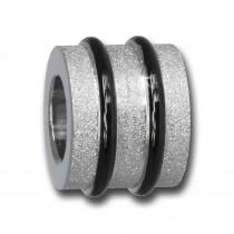 Amello Megabeads Stahl Bead Zylinder diamantiert Armbandbead AMB415S