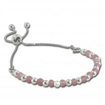 Armäleon Damenarmband Komplettset Kugeln rosa Design+Verschluss 925er ARS009A
