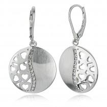 Balia Ohrhänger für Damen matt glanz Zirkonia aus 925 Silber BAO0013SW