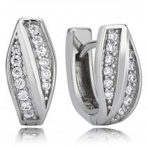 Balia Creolen für Damen glänzend Zirkonia aus 925er Silber BAO0022SW