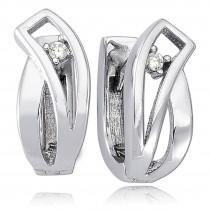 Balia Creolen für Damen glänzend Zirkonia aus 925er Silber BAO0048SW
