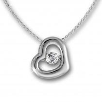 SilberDream Anhänger Herz Dancing Stone mit Kette 925er Silber DSK106W