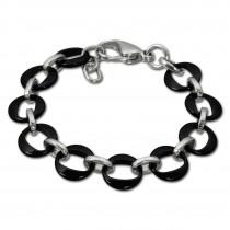 Amello Armband Keramik Ringe schwarz Damen Edelstahlschmuck ESAX02S