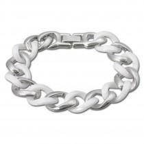 Amello Armband Keramik Panzer weiß Damen Edelstahlschmuck ESAX10W
