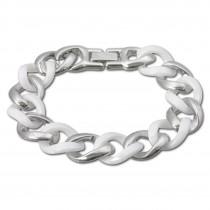 Amello Armband Keramik Panzer weiß Damen Edelstahlschmuck ESAX18W0