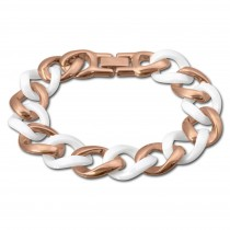 Amello Armband Keramik Panzer weiß rosevergoldet Edelstahlschmuck ESAX20W8