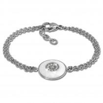 Amello Armband Keramik Rund weiß Zirkonia Damen Edelstahlschmuck ESAX29W8