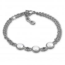 Amello Armband Keramik Halbkugel weiß Damen Edelstahlschmuck ESAX36W8