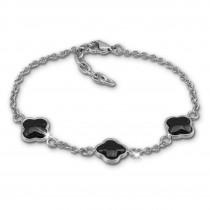 Amello Armband Keramik Kleeblatt schwarz Damen Edelstahlschmuck ESAX38S8