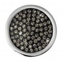 Amello Edelstahl Coin Zirkonia grau 25mm für Coinsfassung Schmuck ESC350K