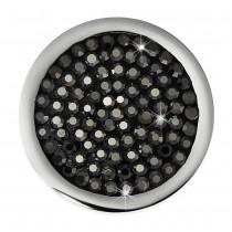 Amello Edelstahl Coin Zirkonia hämatit schwarz 25mm Edelstahlschmuck ESC350S