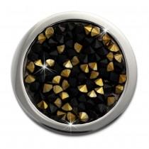 Amello Edelstahl Coin Zirkonia schwarz/gold 25mm Edelstahlschmuck ESC351S