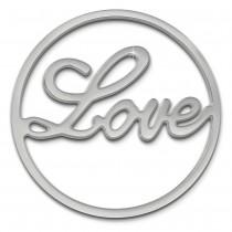 Amello Edelstahl Coin Love 30mm silber für Coinsfassung Stahlschmuck ESC501J